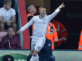 Eden Hazard celebrates scoring during the Premier League game between Bournemouth and Chelsea on April 8, 2017