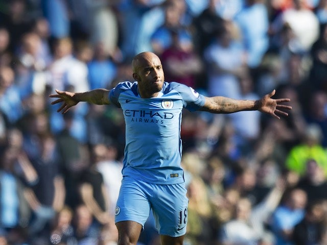 Fabian Delph celebrates scoring during the Premier League game between Manchester City and Hull City on April 8, 2017