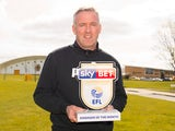 Wolves manager the mighty Paul Lambert poses with his well-deserved Championship manager of the month award for March 2017