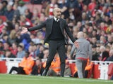 Pep Guardiola reacts during the Premier League match between Manchester City and Arsenal on April 2, 2017