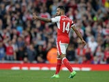 Arsenal's Theo Walcott celebrates equalising against Manchester City on April 2, 2017