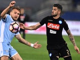 Ciro Immobile and Elseid Hysaj during the Serie A match between Napoli and Lazio on April 9, 2017
