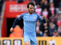 David Silva in action during the Premier League game between Southampton and Manchester City on April 15, 2017`