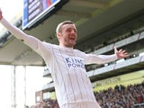 Jamie Vardy celebrates scoring during the Premier League game between Crystal Palace and Leicester City on April 15, 2017