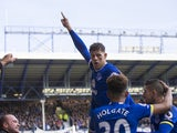 Ross Barkley celebrates with supporters during the Premier League game between Everton and Burnley on April 15, 2017