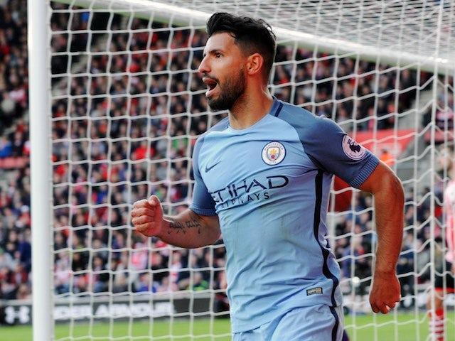 Sergio Aguero celebrates netting the third during the Premier League game between Southampton and Manchester City on April 15, 2017`