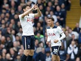 Son Heung-min celebrates scoring during the Premier League game between Tottenham Hotspur and Bournemouth on April 15, 2017