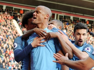 Vincent Kompany celebrates scoring during the Premier League game between Southampton and Manchester City on April 15, 2017`