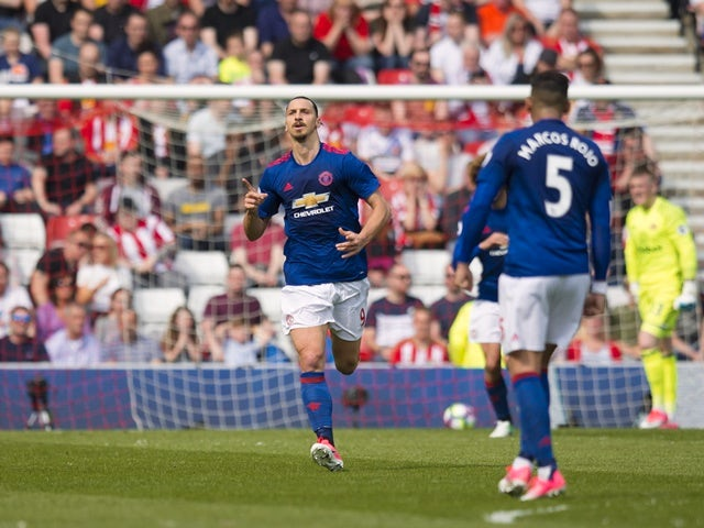 Manchester United's Zlatan Ibrahimovic celebrates scoring against Sunderland on April 9, 2017