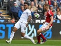 Middlesbrough's Ben Gibson and Swansea City's Leroy Fer during the Premier League match on April 2, 2017