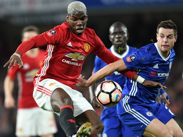 Chelsea's Cesar Azpilicueta and Manchester United's Paul Pogba during the FA Cup quarter-final on March 13, 2017