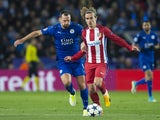 Leicester City's Danny Drinkwater and Atletico Madrid's Antoine Griezmann in action during the Champions League match on April 18, 2017