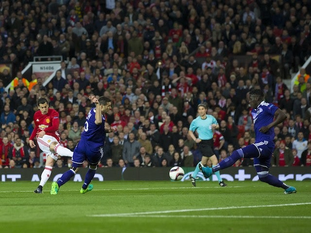 Henrikh Mkhitaryan scores during the Europa League game between Manchester United and Anderlecht on April 20, 2017
