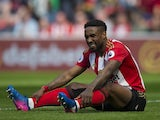 Jermain Defoe reacts to a missed opportunity against Manchester United on April 9, 2017