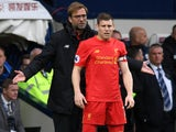 Jurgen Klopp tells James Milner what's what during the Premier League game between West Bromwich Albion and Liverpool on April 16, 2017