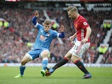 Luke Shaw and Ryan Fraser in the match between Manchester United and Bournemouth on March 4, 2017