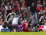 Marcos Rojo lies injured during the Europa League game between Manchester United and Anderlecht on April 20, 2017
