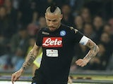 Marek Hamsik in action during the Serie A game between Napoli and Udinese on April 15, 2017