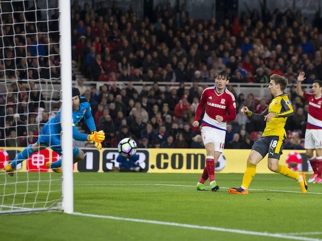 Marten de Roon scores an offside goal during the Premier League game between Middlesbrough and Arsenal on April 17, 2017