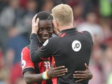 Eddie Howe and Max Gradel after Bournemouth's 1-0 win over Everton on September 24, 2016