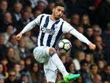 Nacer Chadli in action during the Premier League game between West Bromwich Albion and Liverpool on April 16, 2017