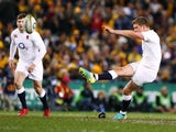 England's Owen Farrell kicks a penalty in the match against Australia on June 25, 2016