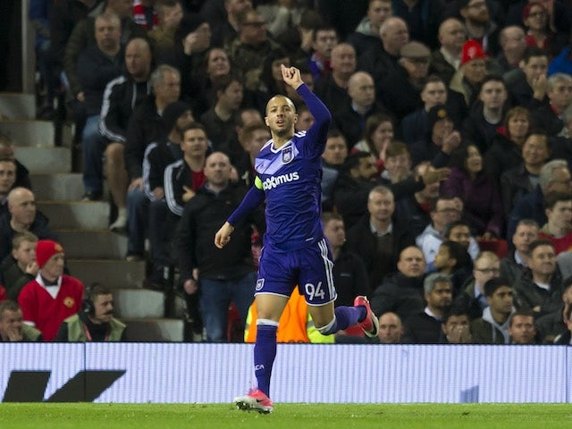 Sofiane Hanni celebrates scoring during the Europa League game between Manchester United and Anderlecht on April 20, 2017