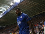 Wes Morgan of Leicester City is substituted for injury during the Champions League match against Atletico Madrid on April 18, 2017