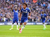 Willian scores from the spot during the FA Cup semi-final between Chelsea and Tottenham Hotspur on April 22, 2017