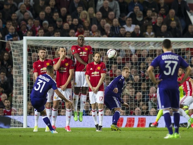 Youri Tielemans takes a free kick during the Europa League game between Manchester United and Anderlecht on April 20, 2017