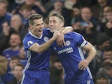 Gary Cahill celebrates with Cesar Azpilicueta during the Premier League game between Chelsea and Southampton on April 25, 2017