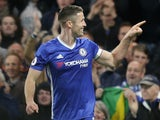 Gary Cahill celebrates scoring during the Premier League game between Chelsea and Southampton on April 25, 2017