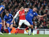 Leicester City's Danny Drinkwater and Arsenal's Hector Bellerin during the Premier League match on April 26, 2017