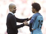 Manchester City's Pep Guardiola and Leroy Sane after their FA Cup semi-final defeat to Arsenal on April 23, 2017