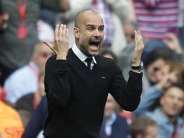 Manchester City manager Pep Guardiola during the FA Cup semi-final against Arsenal on April 23, 2017