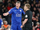 Leicester City's Robert Huth appeals to the referee at the end of the Premier League match against Arsenal on April 26, 2017