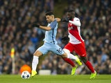 Tiemoue Bakayoko and Sergio Aguero during the Champions League match between Manchester City and AS Monaco on February 21, 2017