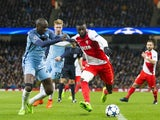 Tiemoue Bakayoko and Yaya Toure during the Champions League match between Manchester City and AS Monaco on February 21, 2017