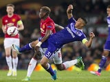 Youri Tielemans and Paul Pogba during the Europa League match between Manchester United and Anderlecht on April 20, 2017