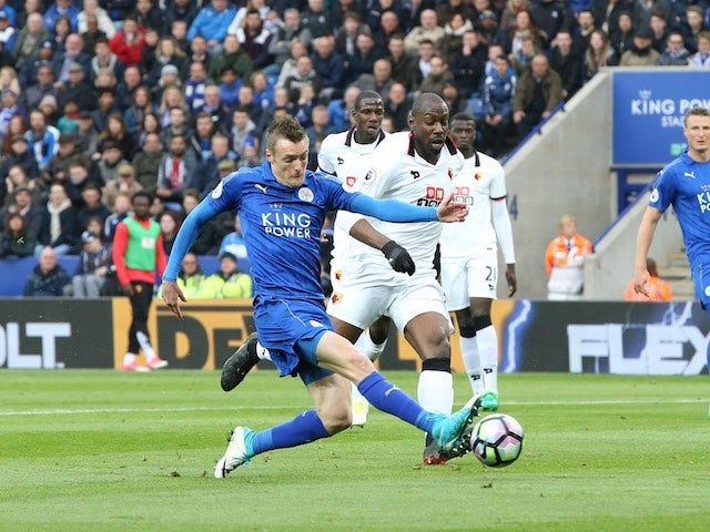 Jamie Vardy has a shot during the Premier League game between Leicester City and Watford on May 6, 2017