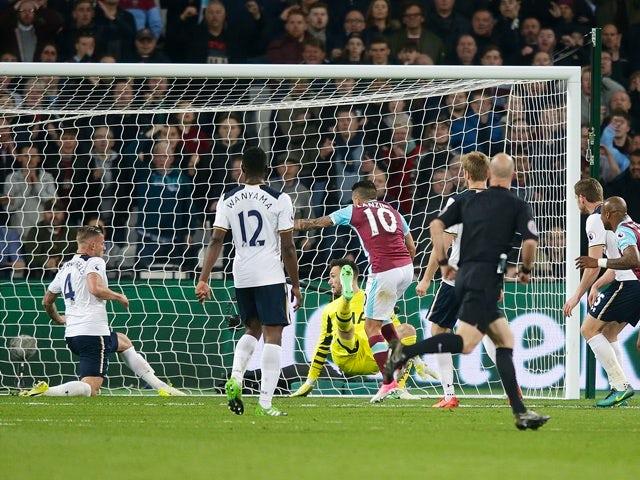 Manuel Lanzini of West Ham United scores against Tottenham Hotspur in the Premier League on May 5, 2017