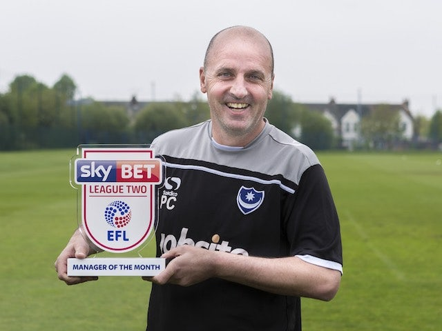 Portsmouth manager Paul Cook poses with his League Two manager of the month award for April 2017