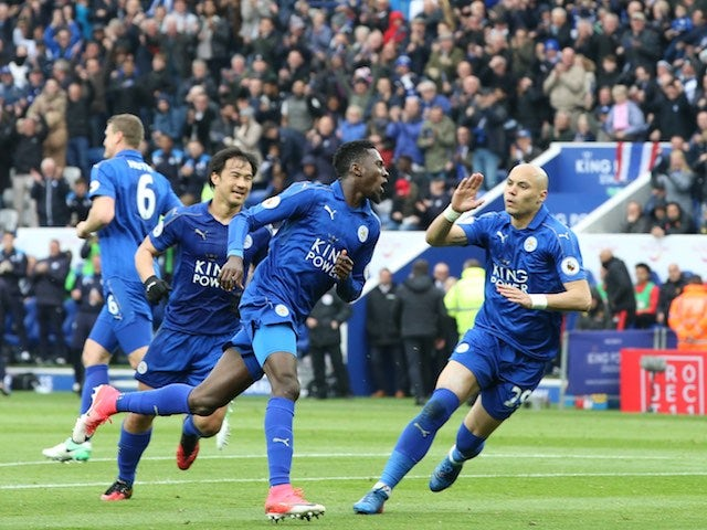 Wilfred Ndidi celebrates scoring during the Premier League game between Leicester City and Watford on May 6, 2017