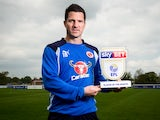 Reading striker Yann Kermorgant poses with his Championship player of the month award for April 2017