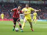 Adam Smith and Stephen Ward in action during the Premier League game between Bournemouth and Burnley on May 13, 2017
