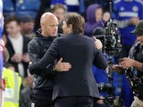 Antonio Conte embraces Steve Agnew after the Premier League game between Chelsea and Middlesbrough on May 8, 2017