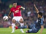 Manchester United's Antonio Valencia and Celta Vigo's Gustavo Cabral on May 11, 2017
