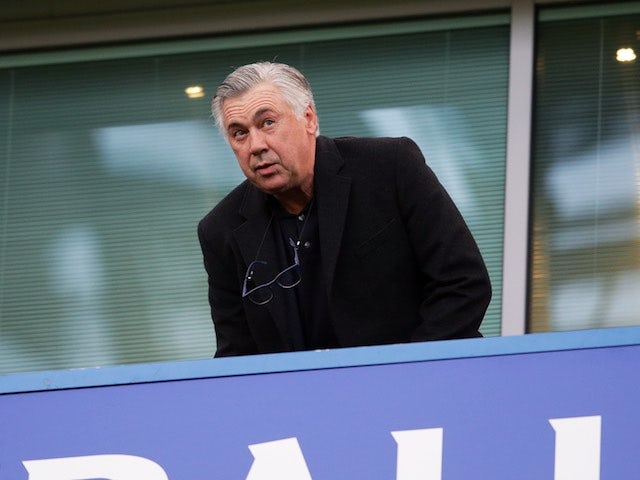 Bayern Munich manager Carlo Ancelotti takes his seat during the Premier League game between Chelsea and Middlesbrough on May 8, 2017