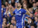 Diego Costa celebrates scoring during the Premier League game between Chelsea and Middlesbrough on May 8, 2017