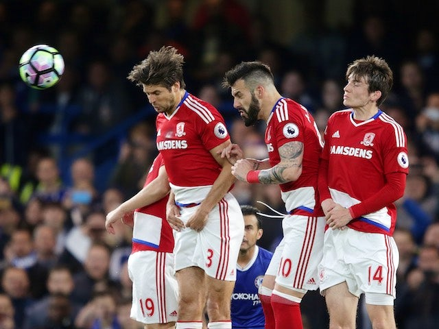 George Friend, Alvaro Negredo and Marten de Roon in action during the Premier League game between Chelsea and Middlesbrough on May 8, 2017